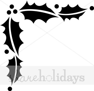 Holly in page corner. Berries clipart holiday