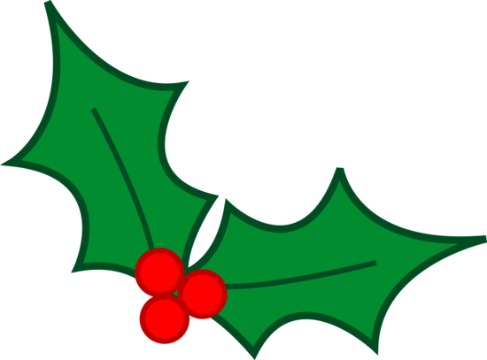 Green christmas holly leaves. Berries clipart holiday