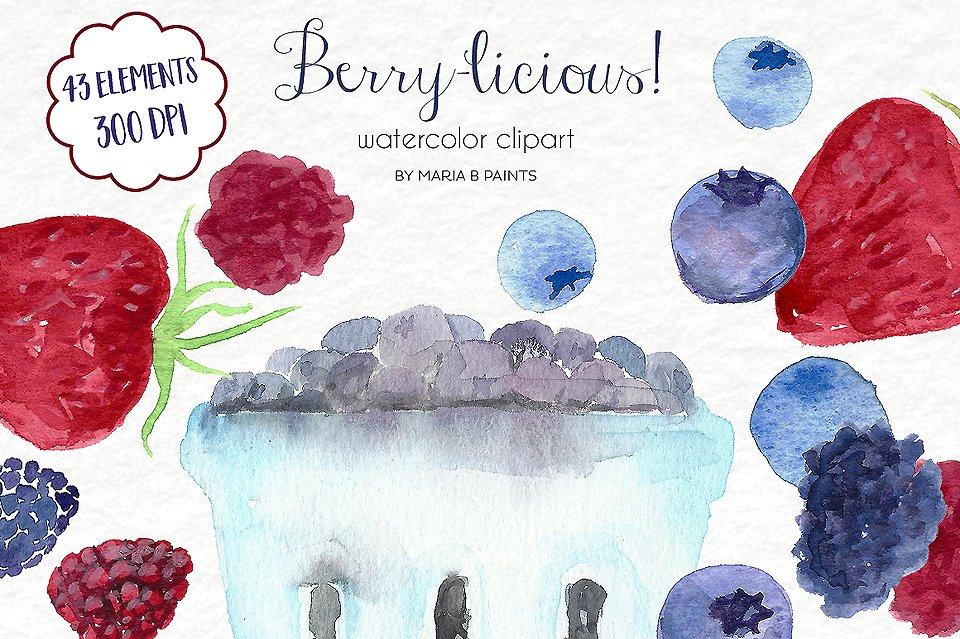 Watercolor clip art illustrations. Berries clipart illustration