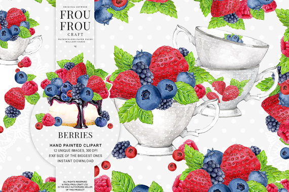 Berries clipart illustration. Fruits clip art strawberry