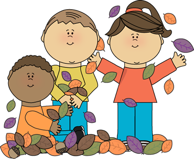 Kids playing in leaves. Berries clipart kid