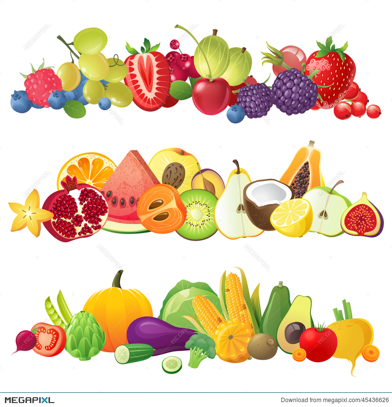 Berries clipart mix. Fruits vegetables and borders