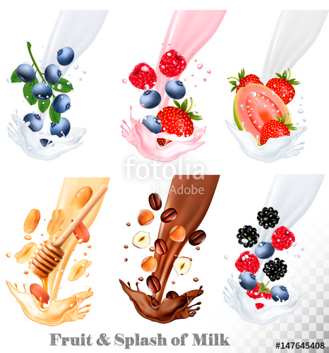 Berries clipart nuts. Set of different milk