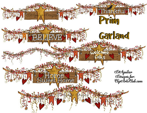 Garland bundle hand drawn. Berries clipart primitive
