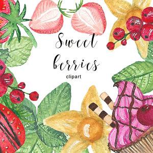 Etsy au watercolor sweets. Berries clipart purple berry