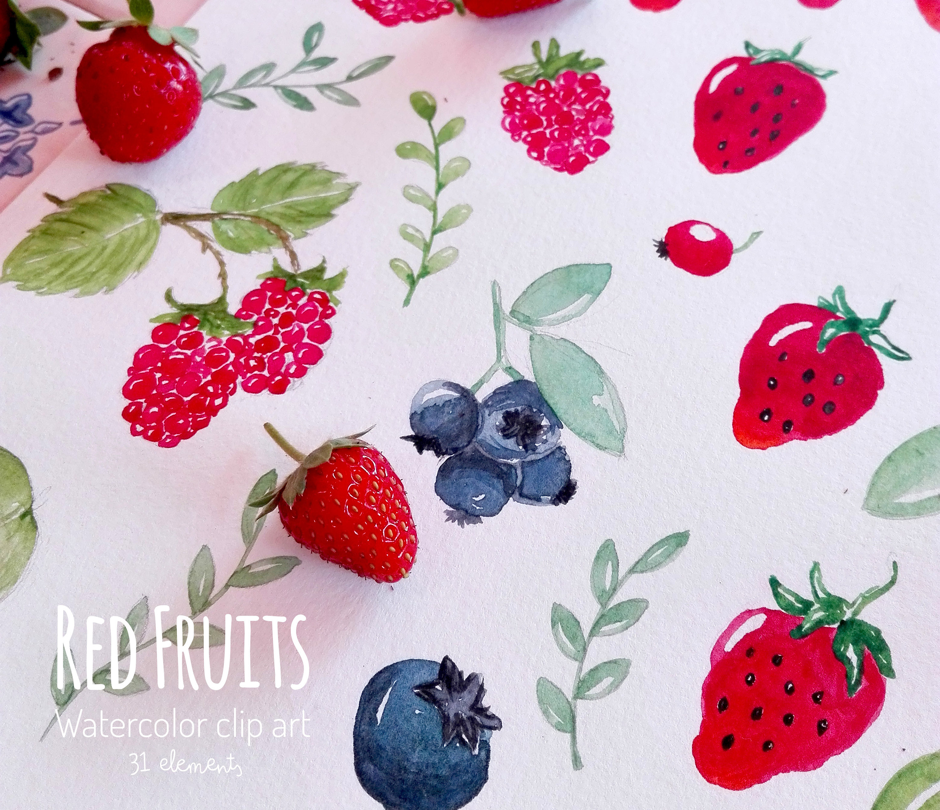 Berries clipart strawberry blueberry. Watercolor fruits clip art