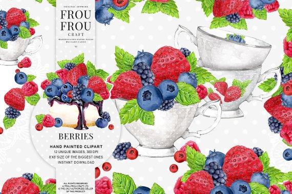 Berries clipart strawberry blueberry. Fruits clip art raspberry