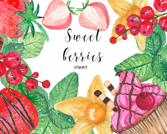 Berries clipart summer. Berry watercolor sweets fruits
