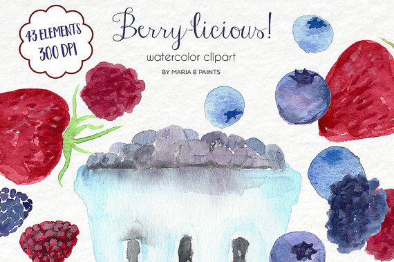 Berries clipart summer. Watercolor clip art personal