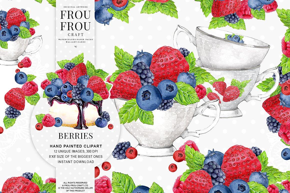 Berries clipart summer. Watercolor illustrations creative market
