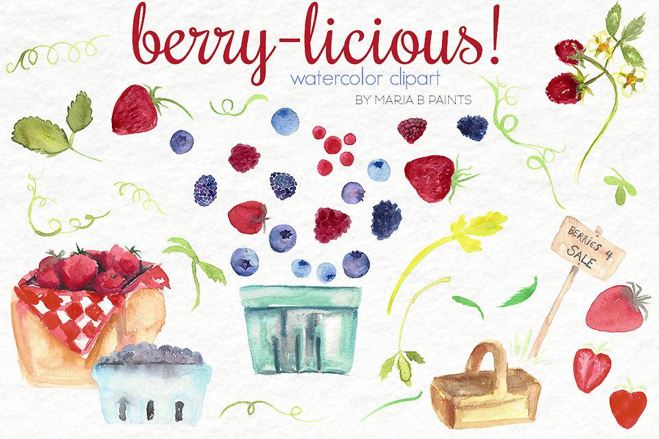 Watercolor clip art personal. Berries clipart summer