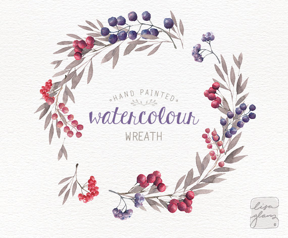 Watercolor wreath hand painted. Berries clipart summer