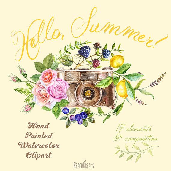 Berries clipart summer. Watercolor retro photo camera