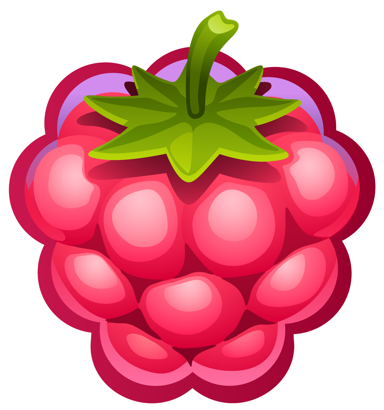 Large painted raspberry png. Berries clipart transparent background