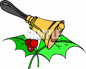 Hand bell with holly. Berries clipart two