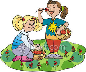 Girls collecting royalty free. Berries clipart two