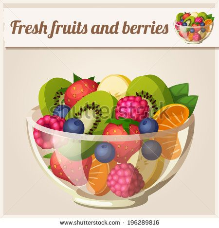 Berries clipart vector. Salad with fresh fruits
