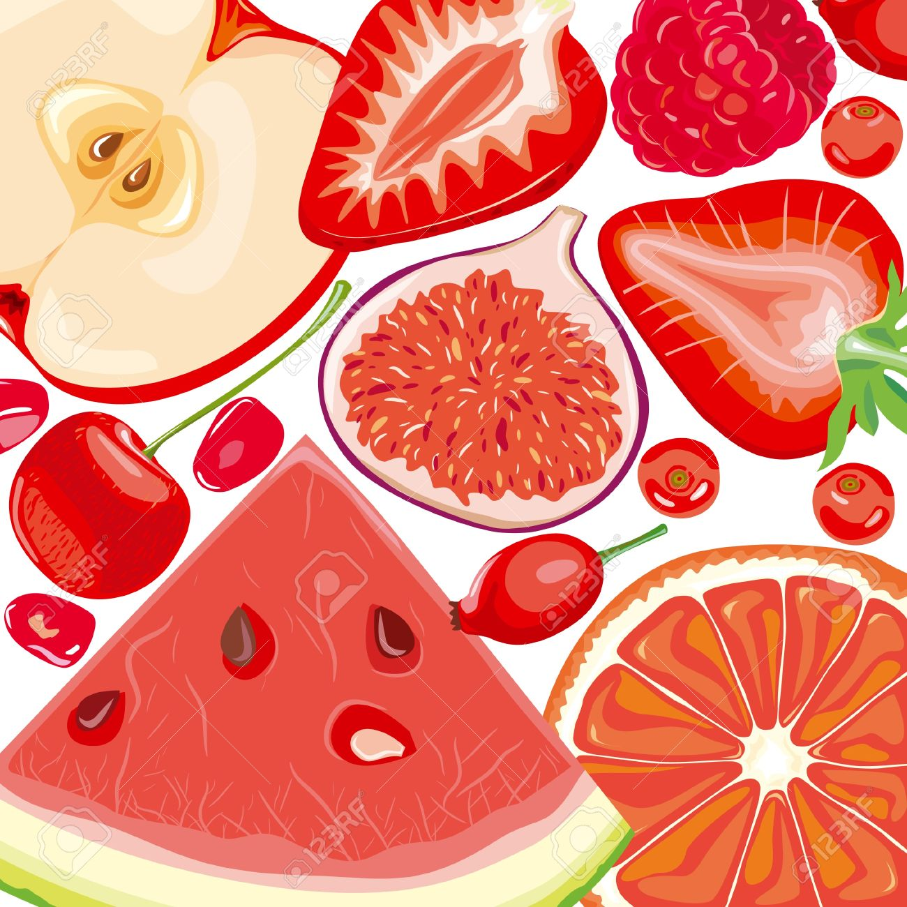 Berry red fruit mix. Berries clipart vector