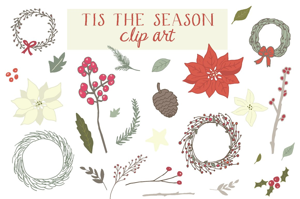 Tis the season clip. Berry clipart winter