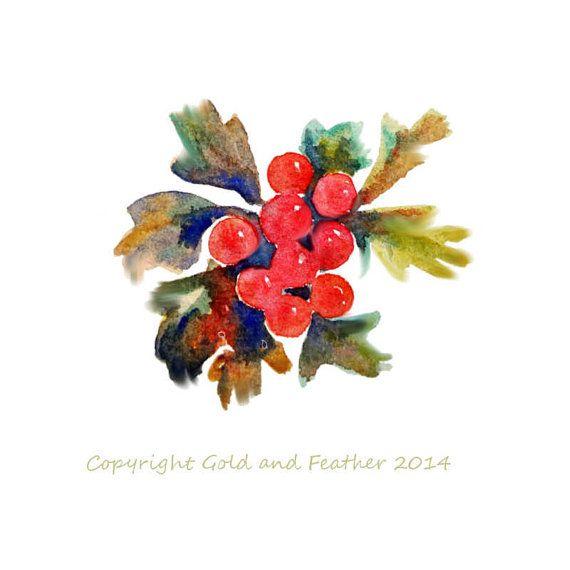 Berries watercolour clip art. Berry clipart autumn berry