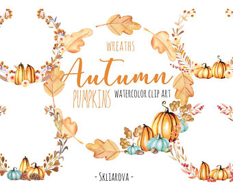 Watercolour fall wreath pumpkin. Berry clipart autumn berry