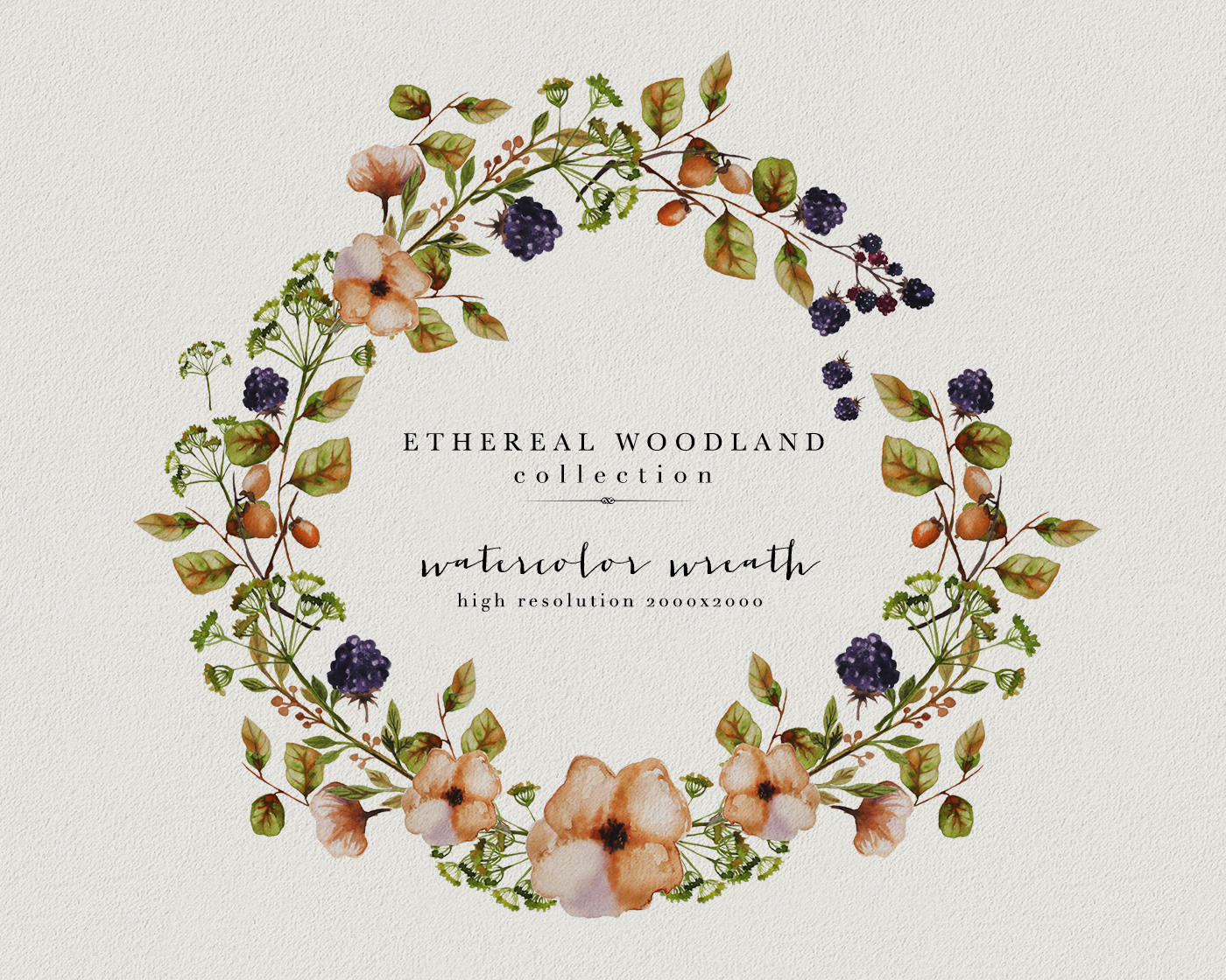 Wild flowers watercolor wreath. Berry clipart autumn berry