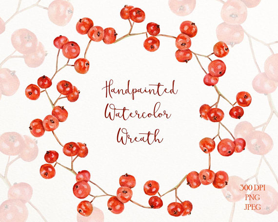 Berry clipart holiday. Red winter watercolor wreath