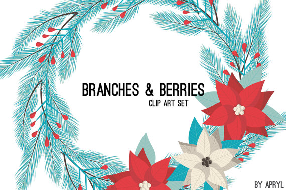 Christmas branches flower wreath. Berry clipart holiday