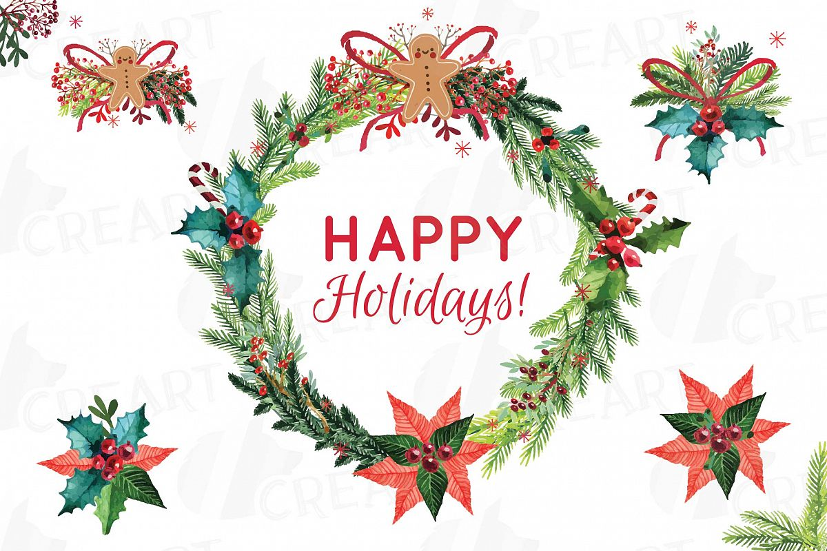 Christmas wreath clip art. Berry clipart holiday