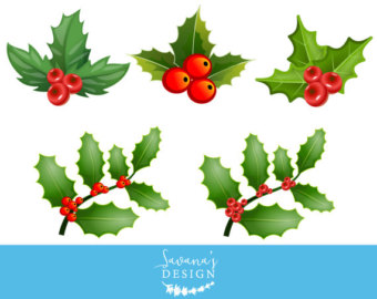 Christmas watercolor decoration holly. Berry clipart holiday