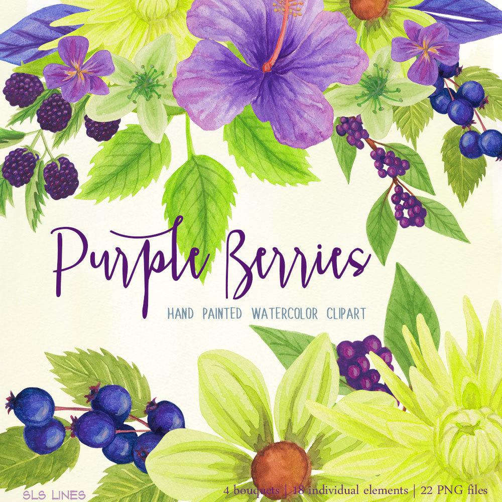 Berry clipart purple berry. Berries watercolor store sl