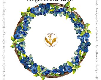 Watercolor fruit summer wreath. Blueberry clipart grape