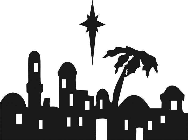 Bethlehem clipart black and white. Nativity skyline silhouette laser