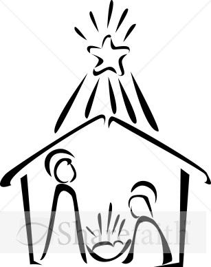 Nativity in with bright. Bethlehem clipart black and white