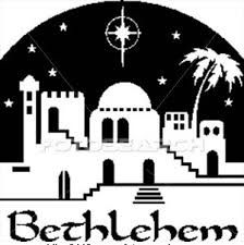 Silhouette of town o. Bethlehem clipart black and white
