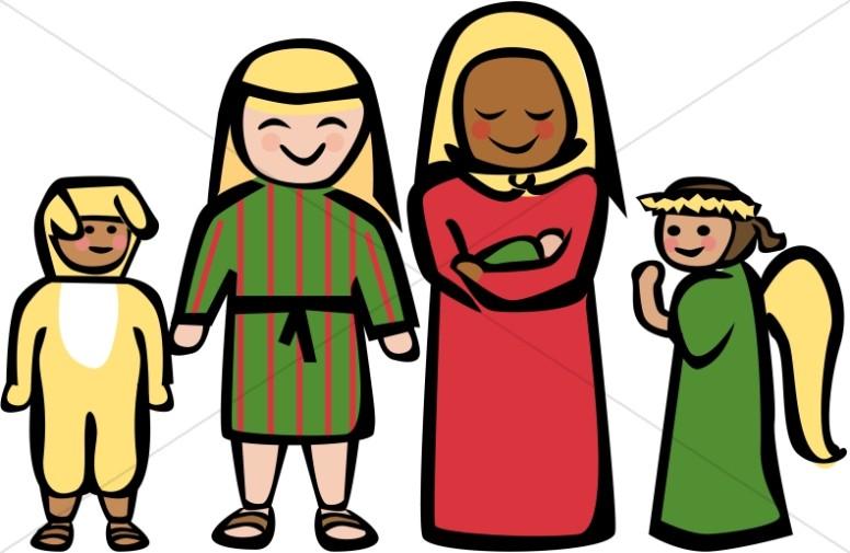 Style holy family nativity. Bethlehem clipart cartoon
