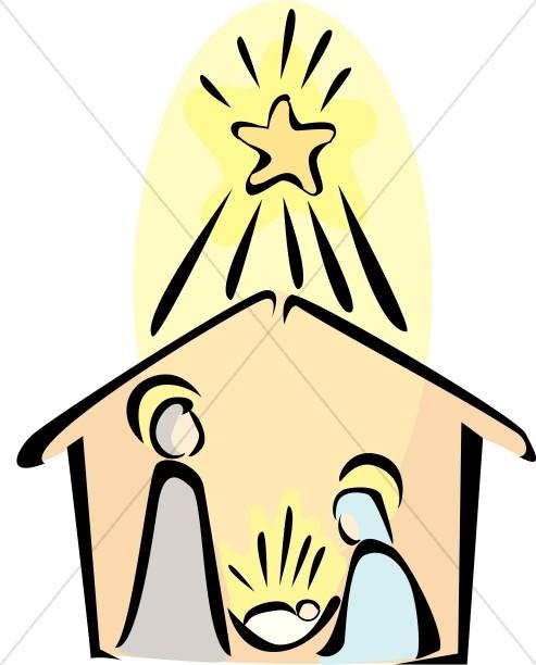 Nativity scene with radiant. Bethlehem clipart cartoon