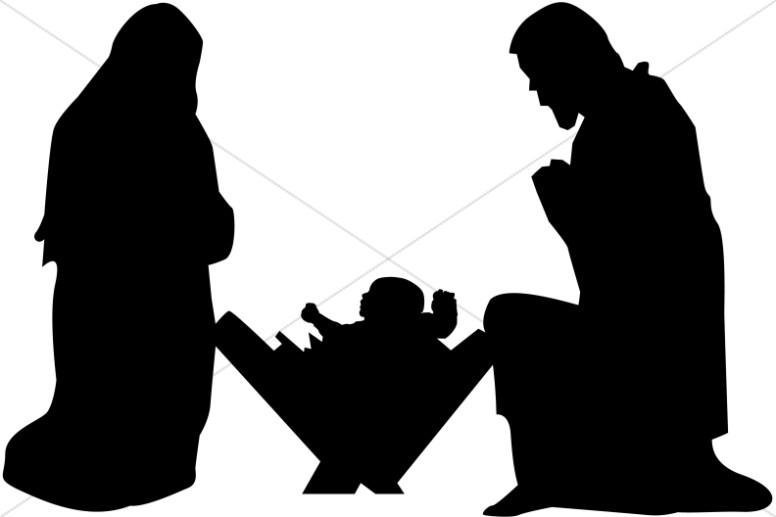 Nativity clipart joseph mary. And baby jesus silhouette