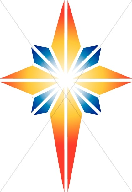 Red and blue star. Epiphany clipart bethlehem