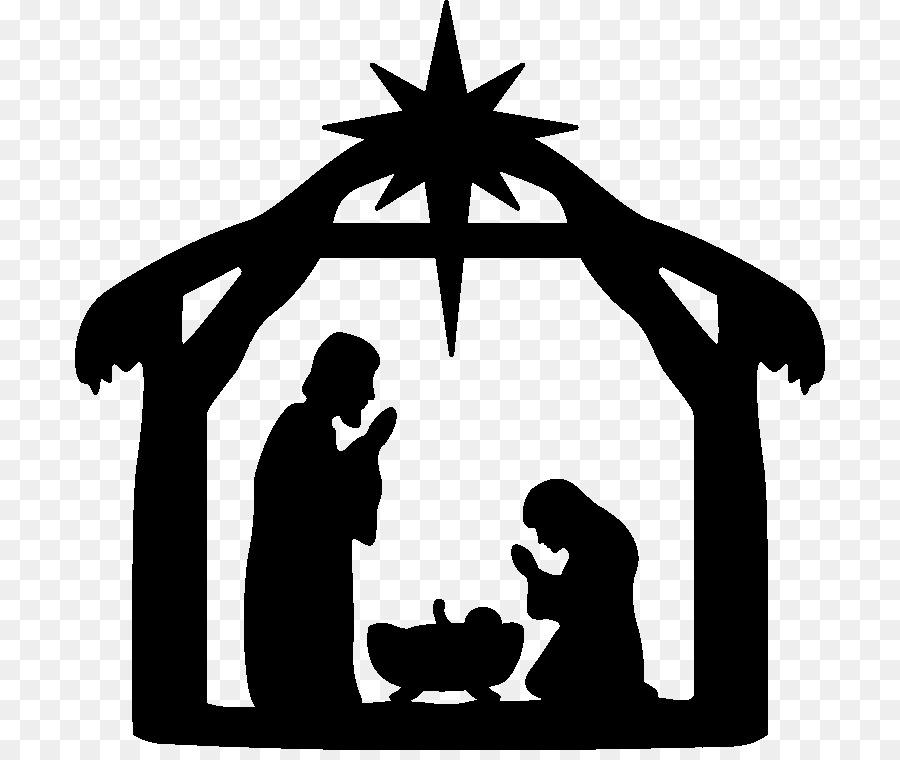 Bethlehem clipart creche. Christmas black and white