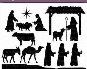 Nativity silhouette etsy scenes. Bethlehem clipart creche