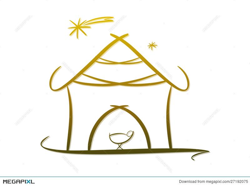 Modern nativity symbol icon. Bethlehem clipart crib