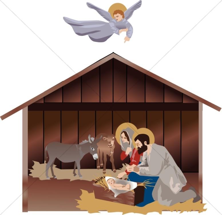 Mary and joseph at. Nativity clipart manger