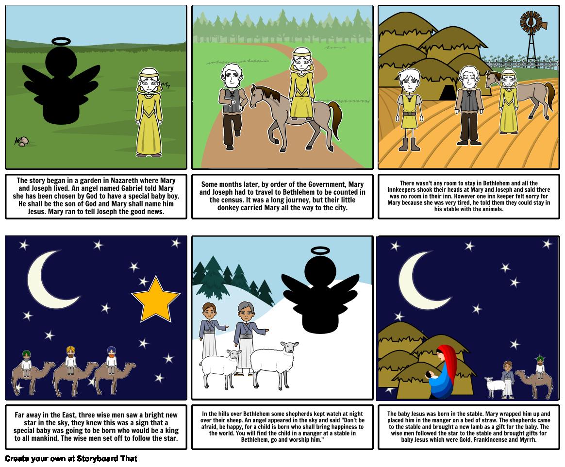 Bethlehem clipart journey. Nativity storyboard by em