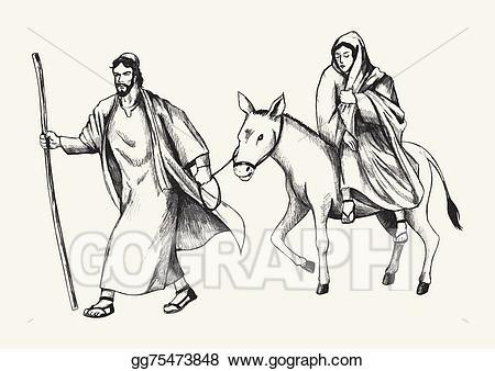 Vector stock to illustration. Bethlehem clipart journey