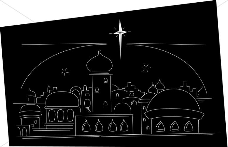 Star ove rthe town. Bethlehem clipart line