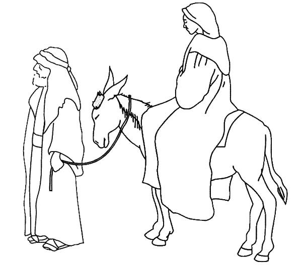 Mary and Joseph on the Road to Bethlehem coloring page | Free ... | 534x600