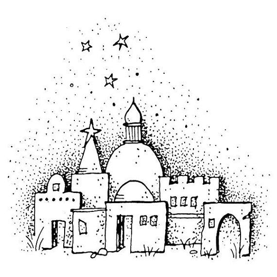 collection of town. Bethlehem clipart outline