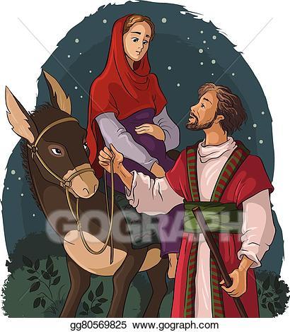 Bethlehem clipart scene. Vector stock mary joseph