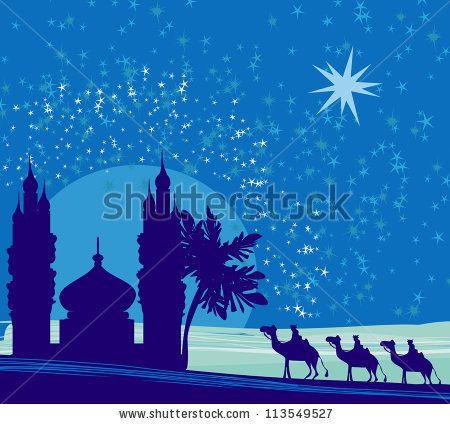 Classic three magic scene. Bethlehem clipart scenery